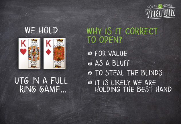 We hold KK UTG - why open with this hand?
