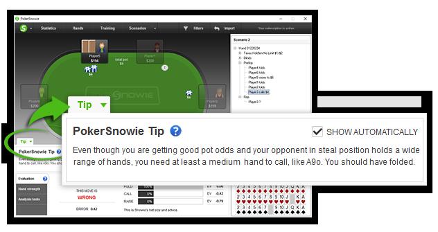 PokerSnowie Online Manual - PokerSnowie Tip